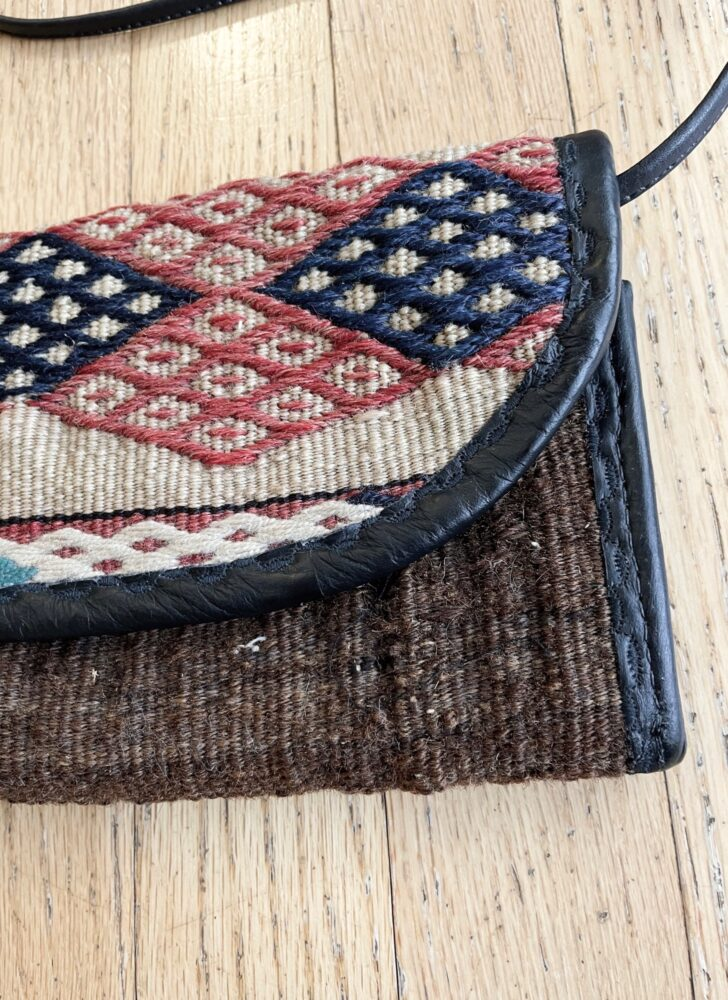 1990s Joan & David kilim fold-out crossbody purse