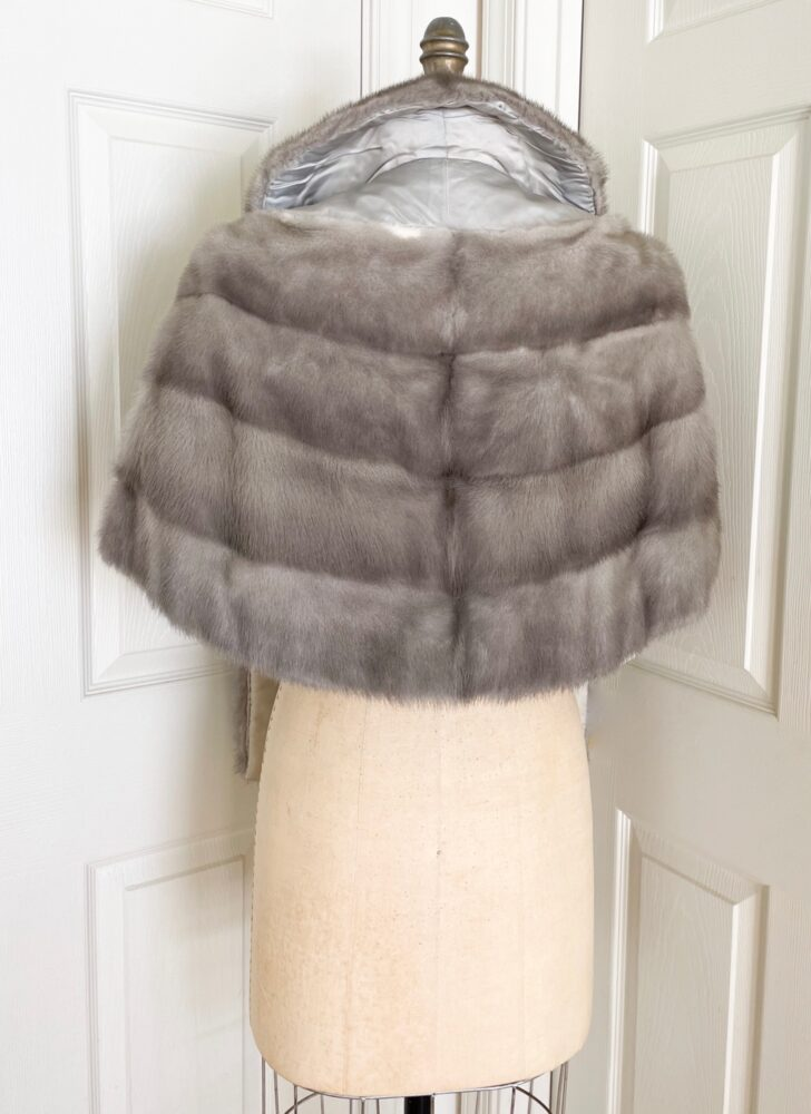 vintage standup collar gray mink wrap shrug shawl jacket