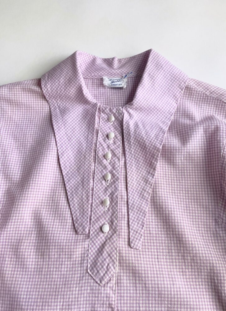1930s 40s purple + white collared gingham cotton blouse top