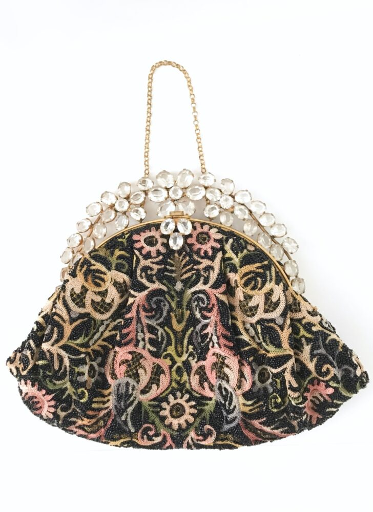 1940s 50s jeweled crewelwork beaded purse Hobe Josef