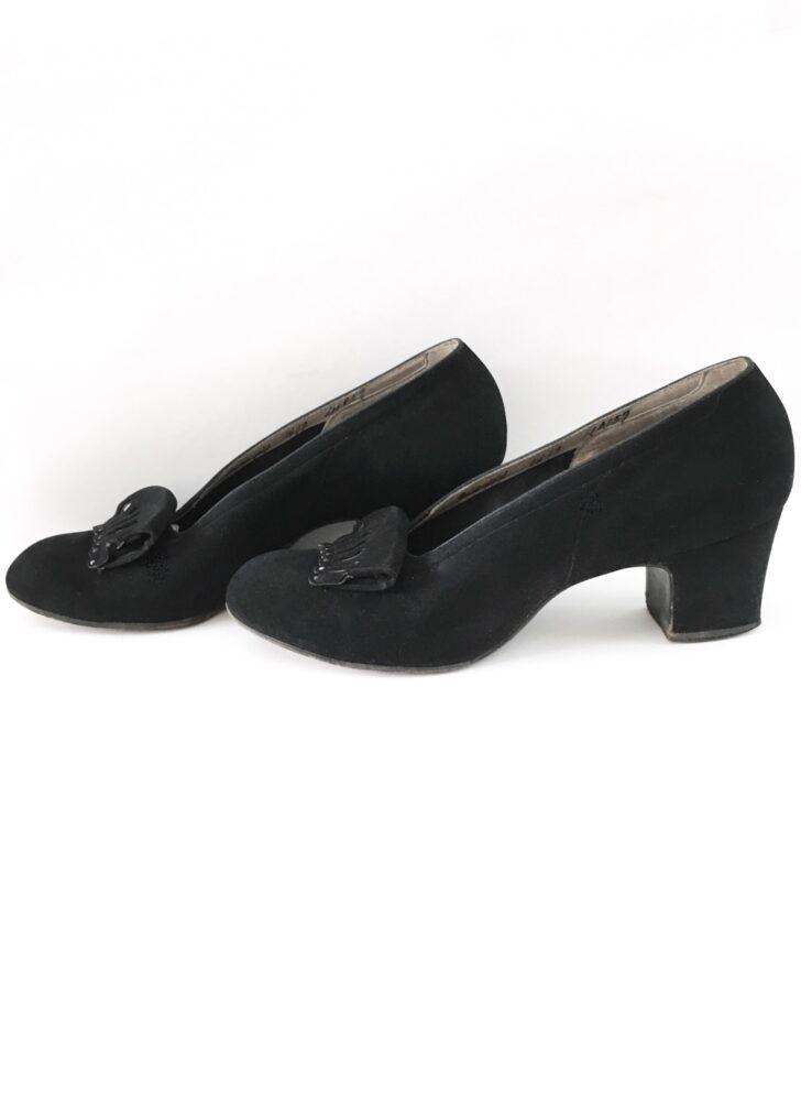 1940s black suede I Miller heels shoes pumps