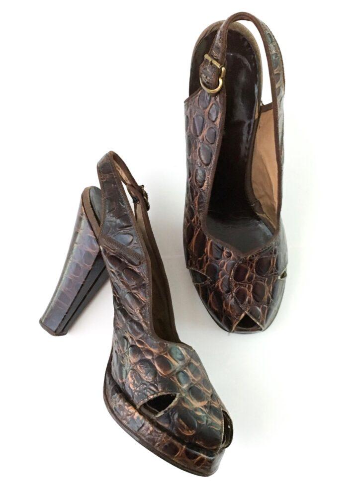 1940s brown leather alligator peep toe platform heels shoes