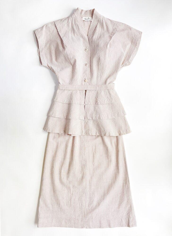 1940s brown + white stripe seersucker peplum dress suit Nardis