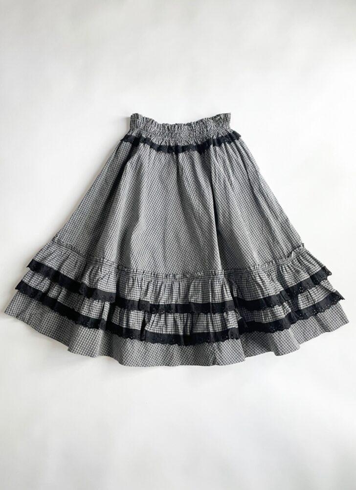 1950s black + white plaid cotton eyelet ruffle circle skirt
