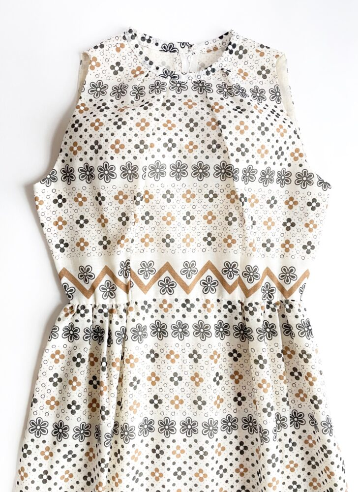 1960s 70s white black brown maxi dress Harlan