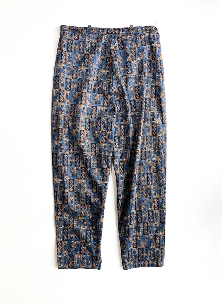 1960s blue abstract print polished cotton pants