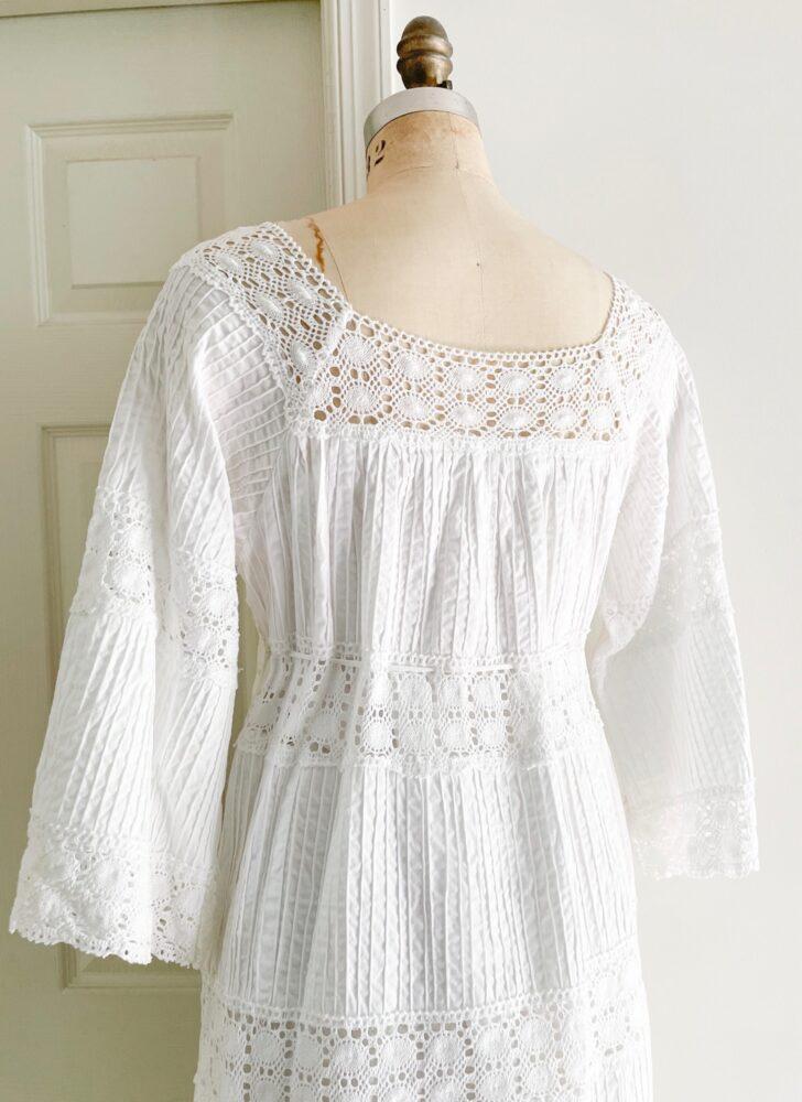 1970s crisp white cotton Mexican dress with crochet lace