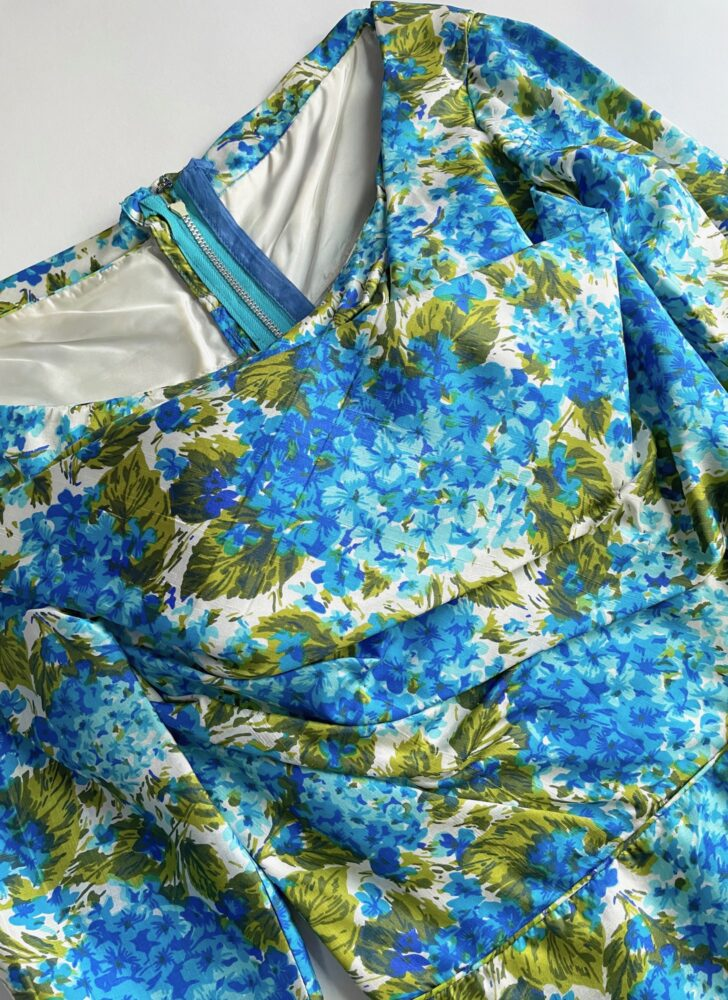 early 1960s draped bodice silk cocktail dress Mancini