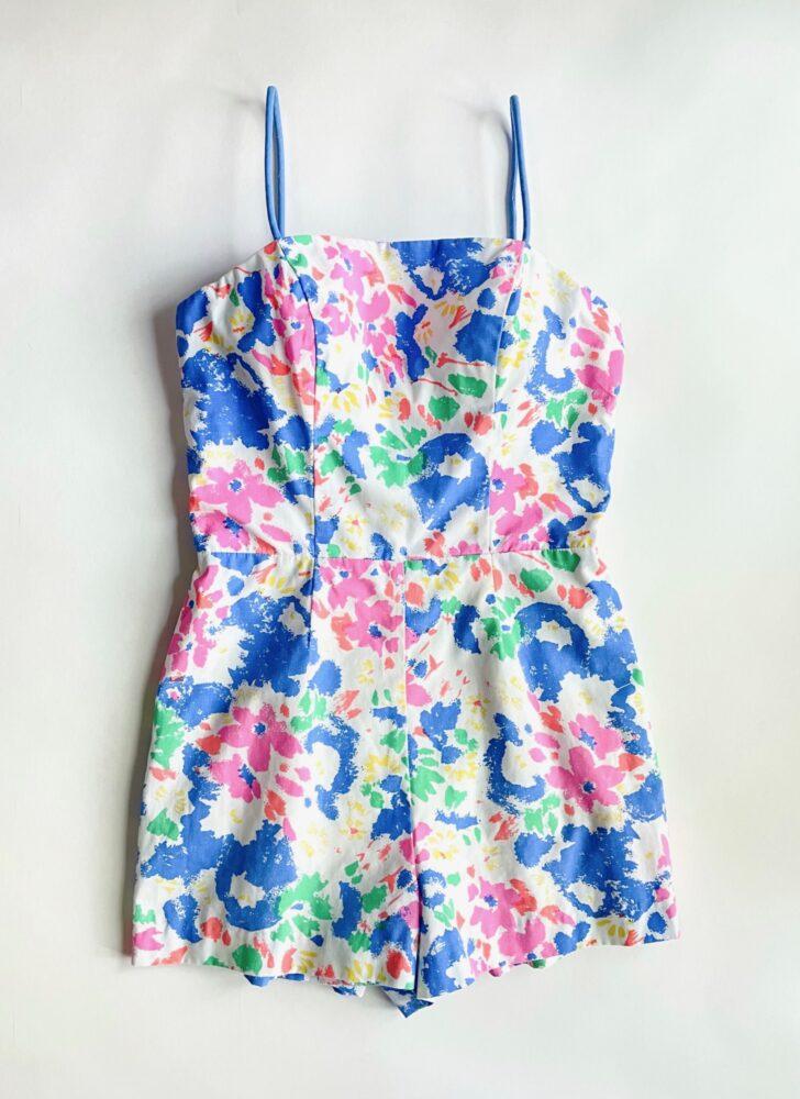 vintage cotton floral playsuit bathing swimsuit