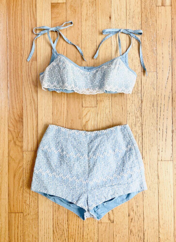1950s 60s Jantzen blue + white organza cotton bikini swimsuit